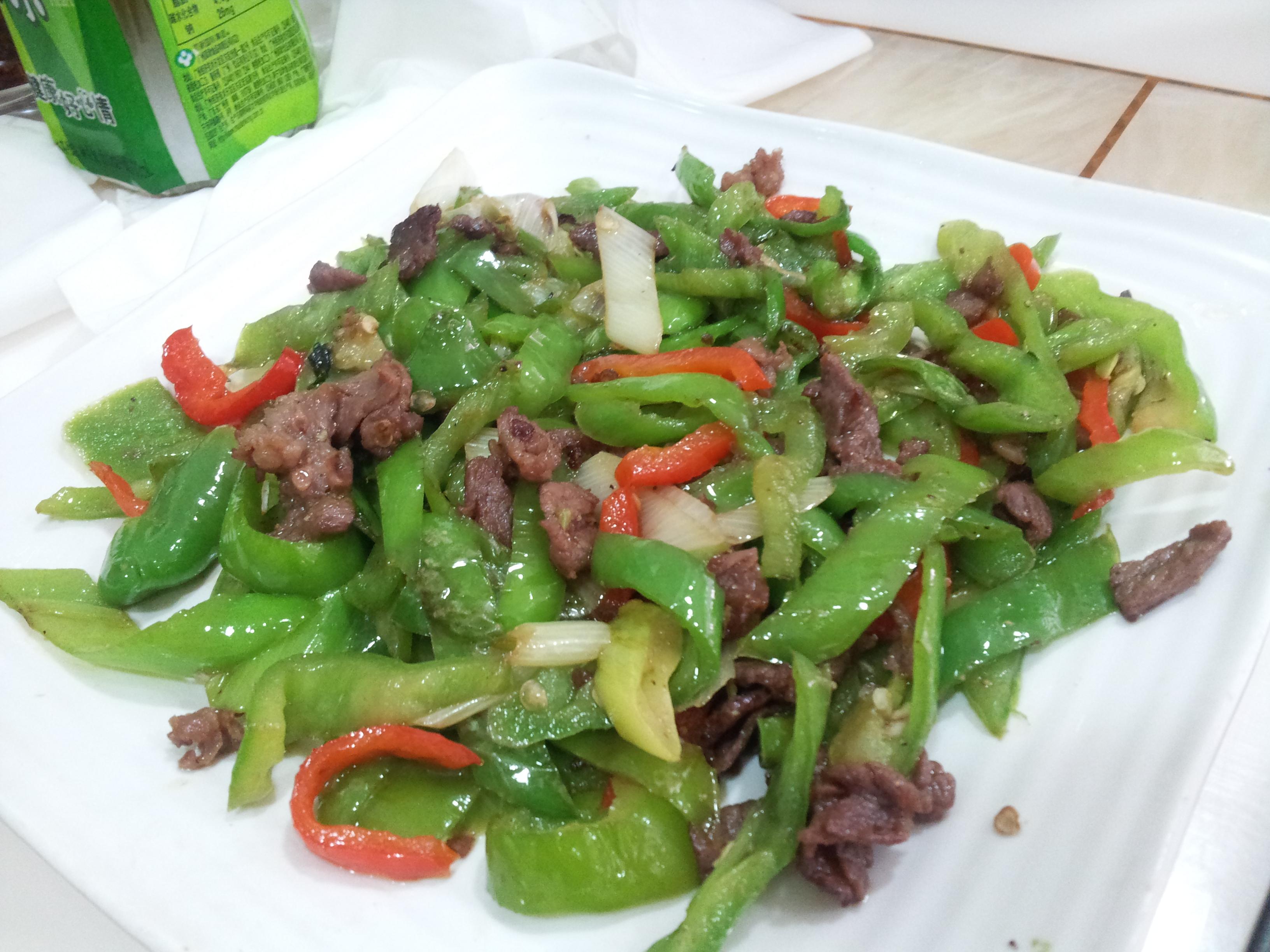 poivrons et viande de boeuf pimentée